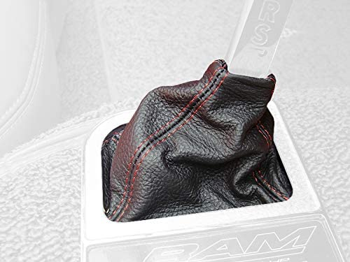 RedlineGoods Shift Boot Compatible with Chevrolet Corvette C2 1963-67 Black Leather-Red Thread