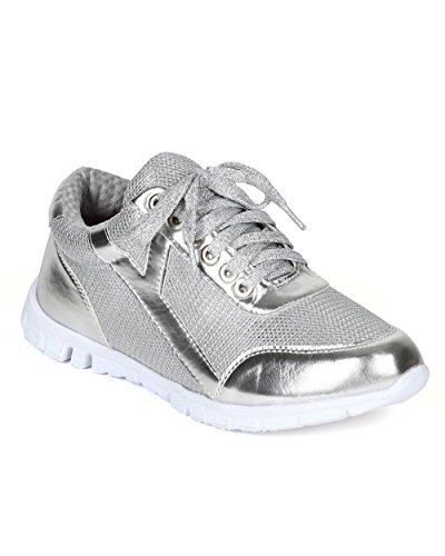 - Nature Breeze Metallic Shimmer Lace up Lightweight Cross Training Sneaker CD33 - Silver (Size: 6.0)