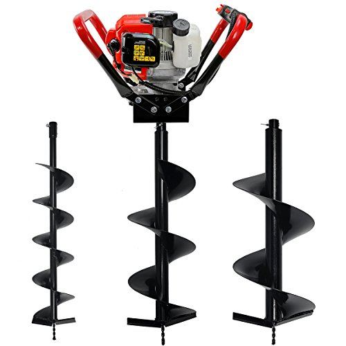 V-Type 55CC 2 Stroke Gas Posthole Digger One Man Auger (Digger + 6'' 10'' 12''Bits) by XtremepowerUS