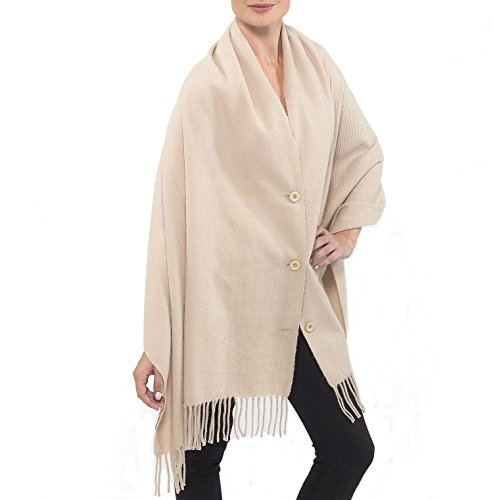 Alpine Swiss Womens Beige Button Up Fringe Cape Long Scarf Soft Wrap Shawl
