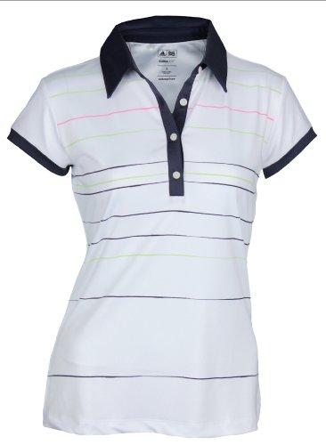 Adidas Taylormade Womens Climalite Painted Stripe Print Polo Shirt (XS (0), White/Quartz/Lemon/Grass/Peony)