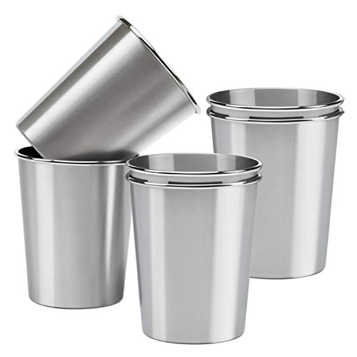 Resinta 6 Pack 12 Ounce Stainless Steel Pint Cups Metal Shatterproof Drinking Glasses for Kids and Adults