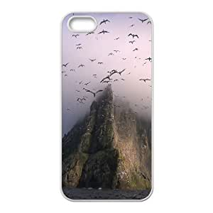 Jumphigh Mountain Cliffs IPhone 5,5S Cases Gannets Above Boreray Cute for Girls, Iphone 5s Cases for Men Cute for Girls [White]