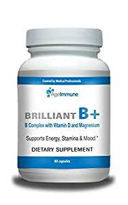 Doctor Formulated Vitamin B Supplements Complex with B12, B6, D, Magnesium and Folate (Folic Acid) by Ageimmune - Best Quality in Class for Energy, Neuro Support Health for Men and Women
