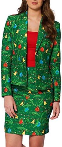 女性のクリスマスコート長袖サンタクリスマスギフト小型スーツファッションスーツの女の子を印刷します