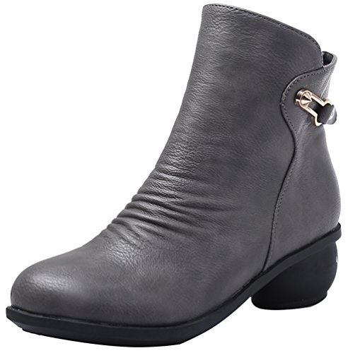 Abby 6829 Womens Party Comfy Practice Soft No Slid Sole Closed Round Toe Concise Block Heel Mid Top Zip Square Dance Ankle Boots Grey lOwfw7Gp