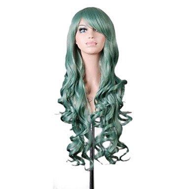 Peluca sintética ondulada morada verde azul para mujer, sin capucha, peluca de cosplay muy
