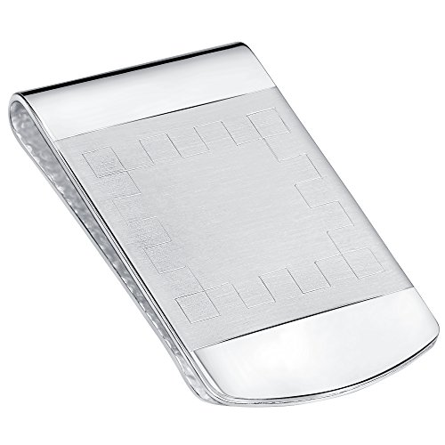 Sterling Silver .925 Engravable Satin Center Accent Solid Design Money Clip. Designed and Made In Italy. By Sterling Manufacturers from Sterling Manufacturers