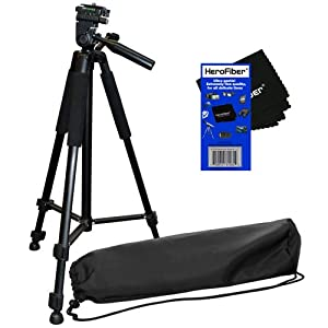 "60"" Pro Series Lightweight Photo/Video Tripod & Carrying Case for Canon EOS M Compact Systems Camera, EOS Rebel T1i, T2i, T3, T3i, T4i, T5, T5i, & SL1 (100D, 550D, 600D, 650D, 700D, 1100D & 1200D) Digital SLR Cameras w/ HeroFiber Ultra Gentle Cleaning Clo"