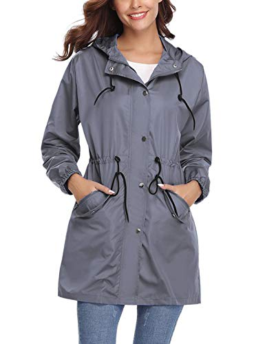 Aibrou Women's Lightweight Raincoats Waterproof Active Outdoor Packable Hooded Trench Coats Gray