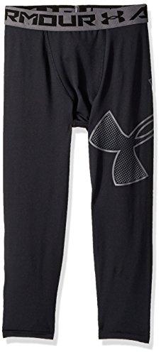 Under Armour Boys Heatgear Armour Logo 3/4 Leggings, Black/Black, Youth Large (Compression Pants For Kids)