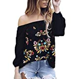 Toimoth Sexy Women Off Shoulder Shirt Chiffon Blouse Floral Embroidery Ladies Tops(Black,S)