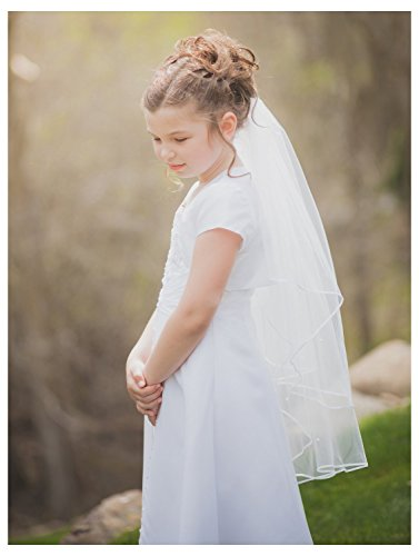 Belle House Girls' White Veils Ribbon Edge With Comb Beaded Communion Veil