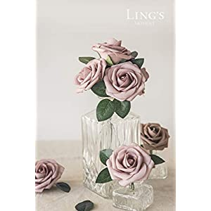 Ling's moment Artificial Rose Flowers 25pcs Dusty Rose Foam Roses with Stem for DIY Wedding Flower Arrangements Centerpieces Bouquets Outdoor Party Decorations 3