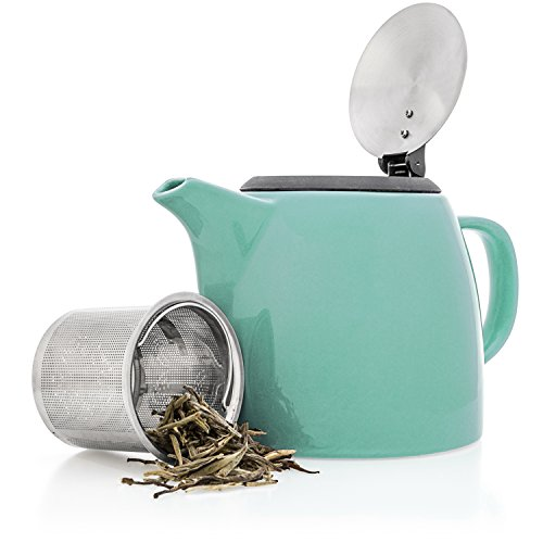 Tealyra - Drago Ceramic Small Teapot Turquoise - 22oz (2-3 cups) - With Stainless Steel Lid and Extra-Fine Infuser for Loose Leaf Tea - BPA Lead-free - 650ml