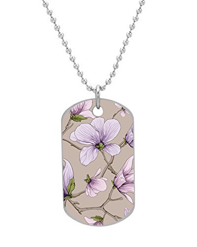 Udoosun Flower Blossom Custom Personalized Aluminum Oval Pet Dog Tag Id Necklace Neck Tag Charm (Oval Blossom)