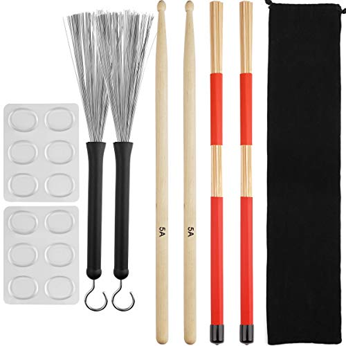 Eison Drum Sticks Set,5A Wood Drum Sticks,Drum Rods Brushes,Retractable Drum Wire Brushes,12PCS Drum Dampeners with Portable Bag,Drumsticks Gift Sets for Beginners Drummer Practice