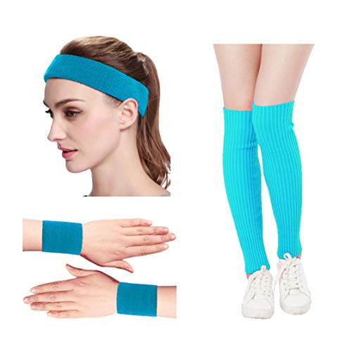 KIMBERLY S KNIT Women 80s Neon Pink Running Headband Wristbands Leg Warmers Set (Free, LakeBlue)