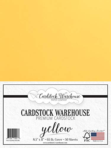 Yellow Cardstock Paper - 8.5 x 11 inch - 65 lb. - 50 Sheets Premium Cover from Cardstock Warehouse