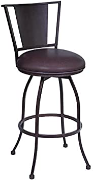 Amazon Com Armen Living Dynasty 30 Bar Height Barstool In Auburn Bay Finish With Brown Pu Furniture Decor