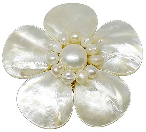 - Bijoux De Ja Mother of Pearl and White Pollen Shell Pearl Flower Brooch Pin