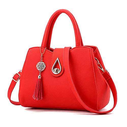 (Pahajim Women PU leather Tote Bags Small Satchel Purses Shoulder Tassel Handbags (red))