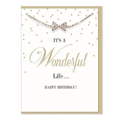 Designer Diamante Bracelet Card - It's Wonderful Life - Happy Birthday Card