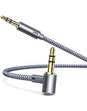 【2 Stück】 AINOPE Aux Kabel [4.0ft/1.2m], 90 Grad Aux Kabel Auto Handy, 3.5mm Stereo Nylon geflochtene Premium Klinke Klinke Kabel für Kopfhörer, iPhones, iPads, Home/Car Stereos und mehr