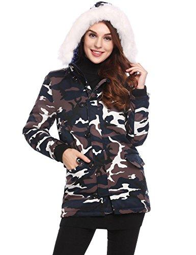 Padded Jacket Coat FastDirect Pattern Camouflage Faux Fur up Hooded Warm Women Zip Cotton nqF48