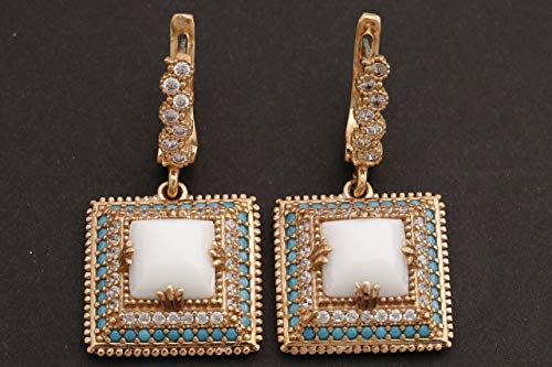 Turkish Handmade Jewelry Square Shape White Onyx and Round Cut Turquoise Topaz 925 Sterling Silver Dangle/Drop Earrings