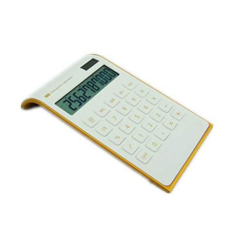 【Letitfly】 Calculator - Slim Elegant Design - Office Home Electronics - Dual Powered Desktop Calculator - Solar Power - 10 Digits - Tilted LCD Display - Inclined Design - White (Slim2)