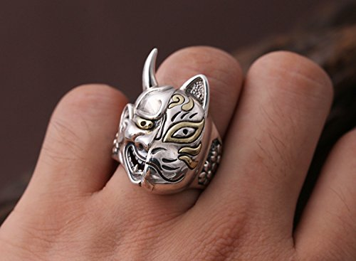 Gothic 925 Sterling Silver Japanese Hannya Demon /& Fox Mask Ring Jewelry for Men Women Size 8.5-10.5