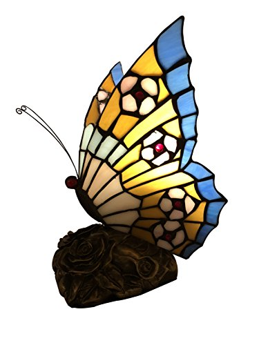 - Tiffany Traders Tiffany Style Blue Yellow and Pink Butterfly Accent Lamp, 9 inches