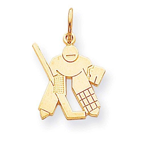 10k Yellow Gold Hockey Stock Charm Pendant (Gold Stock Jewelers)