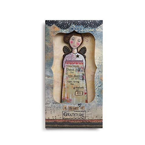 Kelly Rae Roberts Thankful Heart Angel Floral Blue 8 x 4 Wood Decorative Hanging Ornament and Card