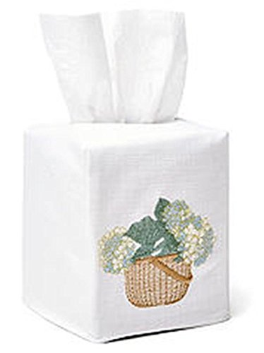 Jacaranda Living Linen/Cotton Tissue Box Cover, Hydrangea Basket, Cream/Blue