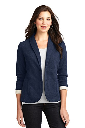 Polished Cotton Blazer (Port Authority Ladies Fleece Blazer. L298 Dark Navy Heather)