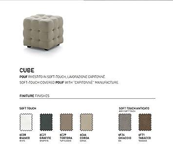 Bianco Pouf Cube sgabello poggiapiedi rivestito in ecopelle soft-touch alta qualit/à