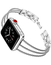 Biaoge Metal Band Compatible for Apple Watch Band Series 4 40mm 44mm/ iWatch Series 3 2 1 38mm 42mm, Adjustable Stainless Steel Wristband Strap Cuff Bangle Bracelet (Series4, 523mm)