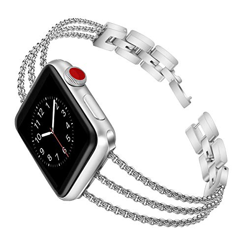 (Biaoge Metal Band Compatible for Apple Watch Band Series 4 40mm 44mm/ iWatch Series 3 2 1 38mm 42mm, Adjustable Stainless Steel Replacement Wristband Strap Cuff Bangle Bracelet Accessori(Silver, 38mm))