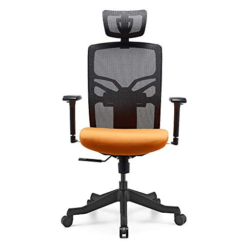 HESSEN Ergonomic Highly Adjustable Office Chair with 3D Arm Rests and Lumbar Support & High Back with Headrest & Adjustable Seat Depth and Mesh Back Height - Home Office Desk Chair,Black&Orange ()