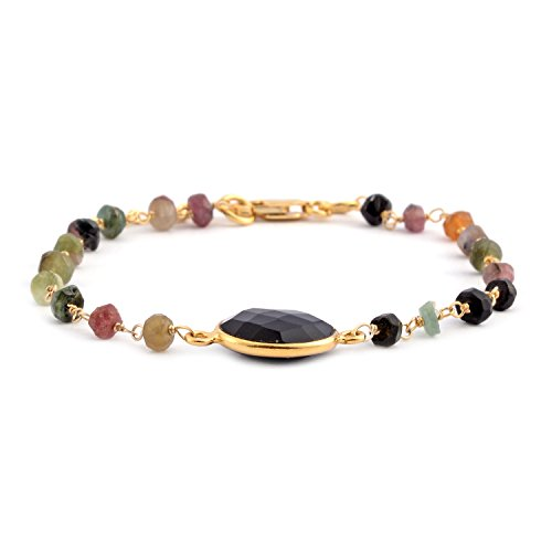 - Black Onyx Multi-Tourmaline 14K Yellow Gold Over Sterling Silver Fashion Bracelet For Women Size 7