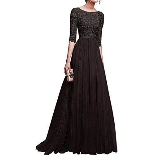 (Women's Vintage Floral Lace 3/4 Sleeves Long Cocktail Bridesmaid Maxi Dress Floor Length Retro Formal Wedding Pageant Evening Prom Party Dance Gown Plus Size V-Neck Pleated Swing Dress Black XXL)