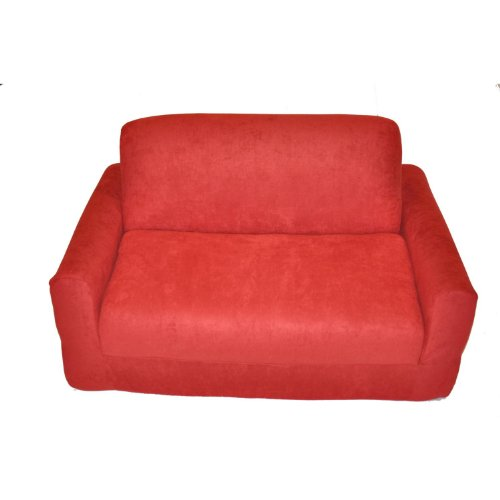 Fun Furnishings Micro Suede Sofa Sleeper with Pillows, Red (Cheap Sofa Beds)