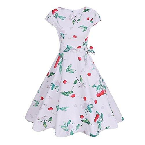 Damen Vintage Bodycon Kurzarm Abendkleider Cocktail Floral Kleid ...
