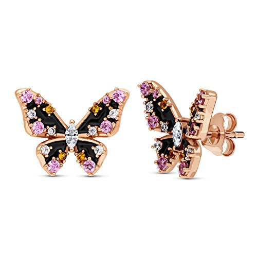BERRICLE Rose Gold Flashed Sterling Silver Enamel Cubic Zirconia CZ Butterfly Fashion Stud Earrings