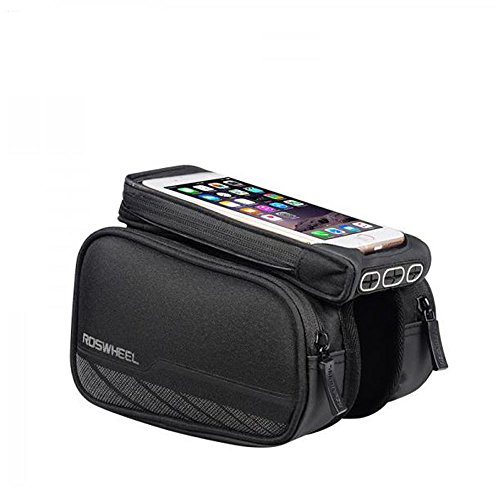 (Roswheel Waterproof Road Bicycle Smartphone Cycling Bags Bike Front Frame Bag Tube Pannier Double Pouch for 5.7 Inches Cellphone Touchscreen Pocket (Dark Grey Type 2) )