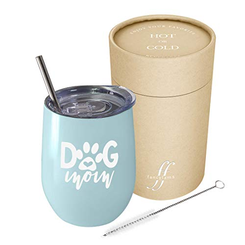 Dog Mom - 12 oz Stainless Steel Stemless Wine Tumbler with Lid and Straw - Birthday, Christmas Gift for Dog Lover Women (Dog Mom - 12 oz) (Blue)