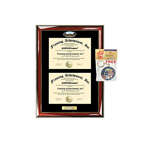 (Double Diploma Frame Stanford University Dual Degree Holder Engraving Framing Two Certificate Holder Graduation Gift Bachelor Master MBA)