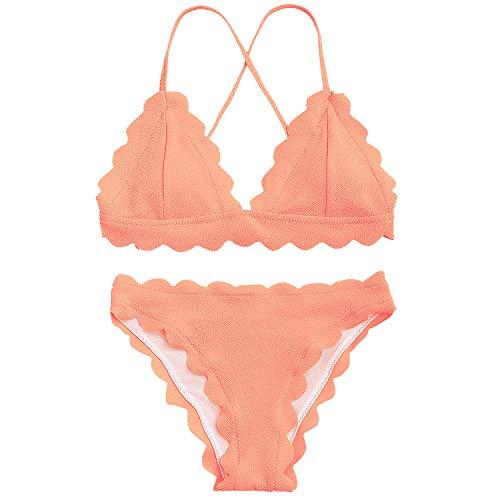 Scalloped Classic - Women's Classic Flounced Scalloped Trim Push-up Padded Vintage Bikini Bathing Suit Swimsuit Set Pink